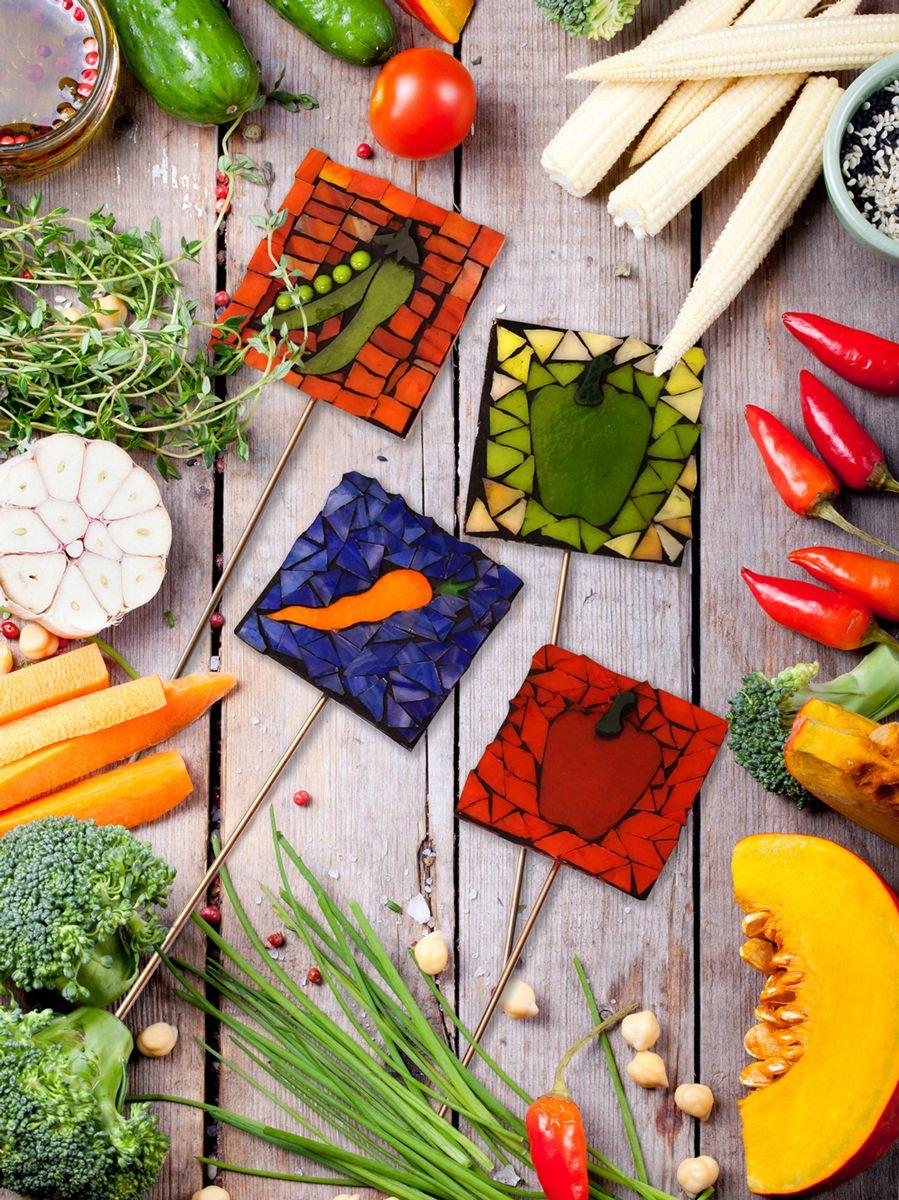 Make mosaic garden stakes