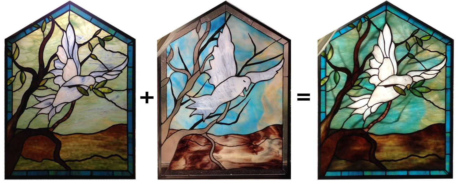 Plated Stained Glass Dove Panel