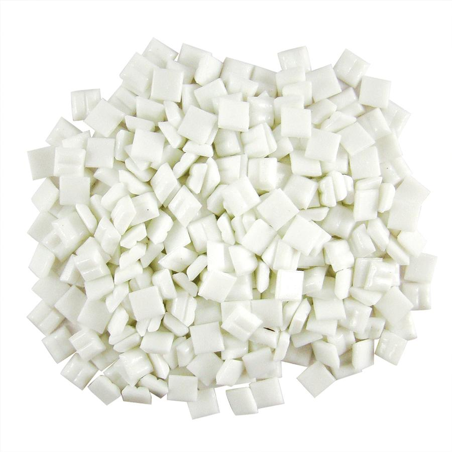 3/8 White Glass Tile - 1 lb