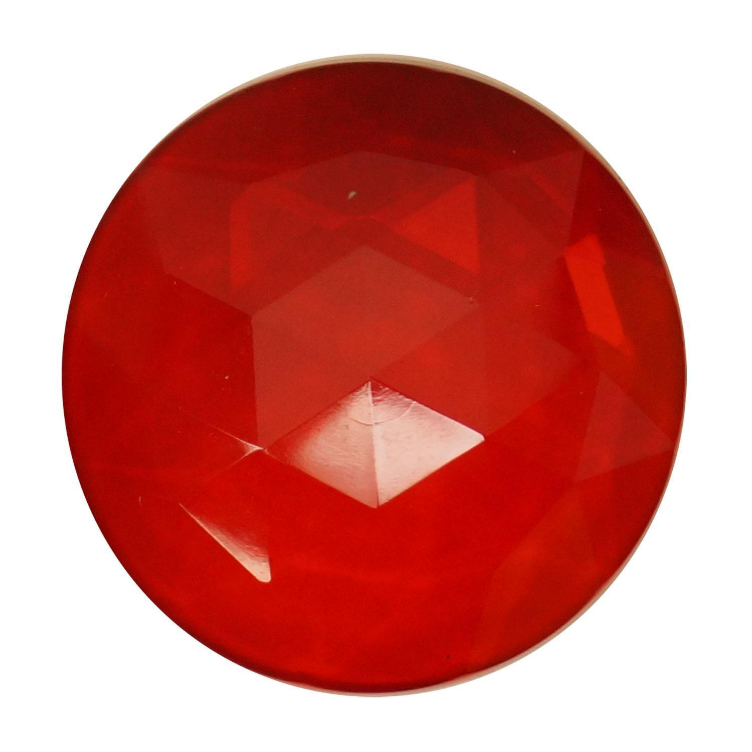 Round Red 30mm Faceted Jewel