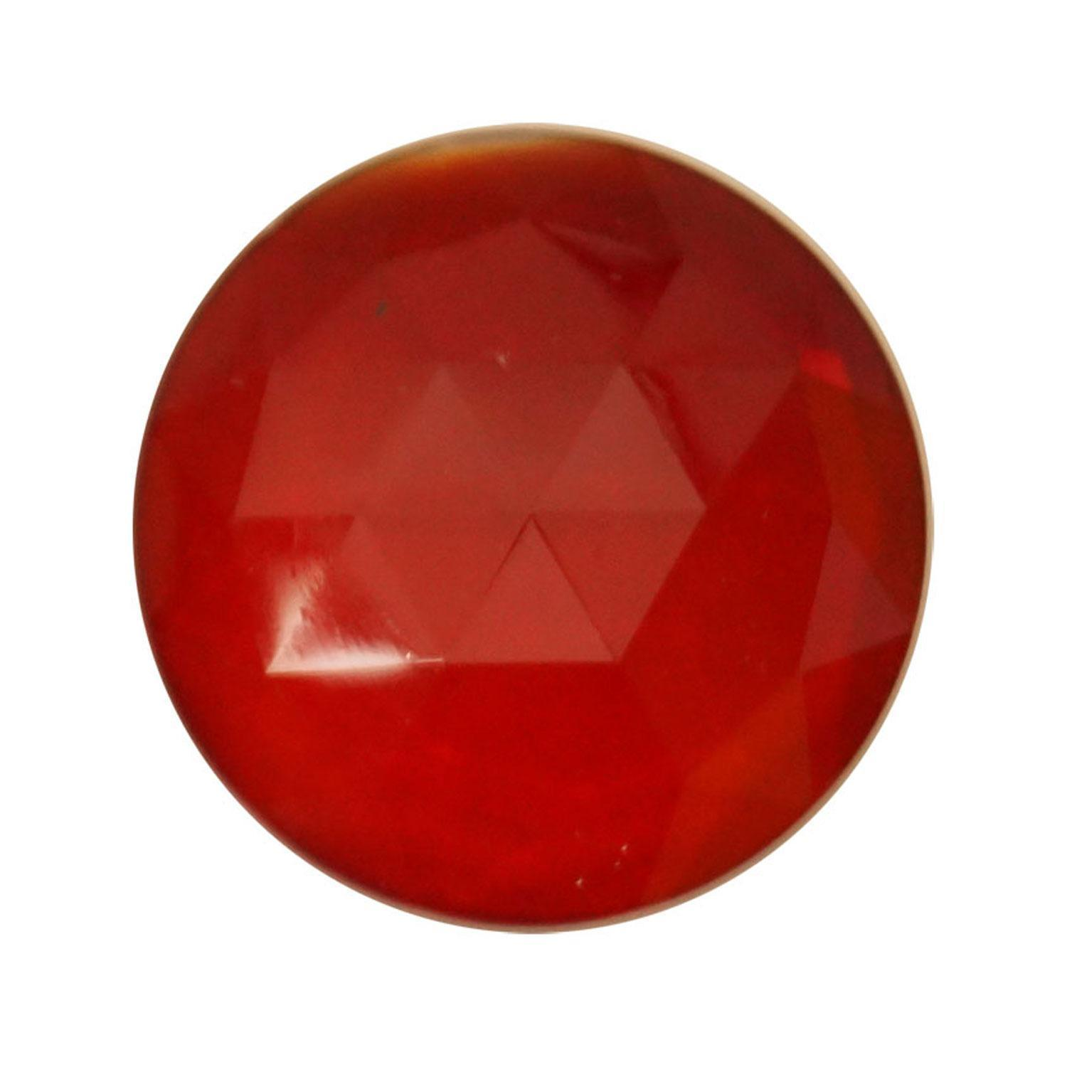 Round Red 25mm Faceted Jewel