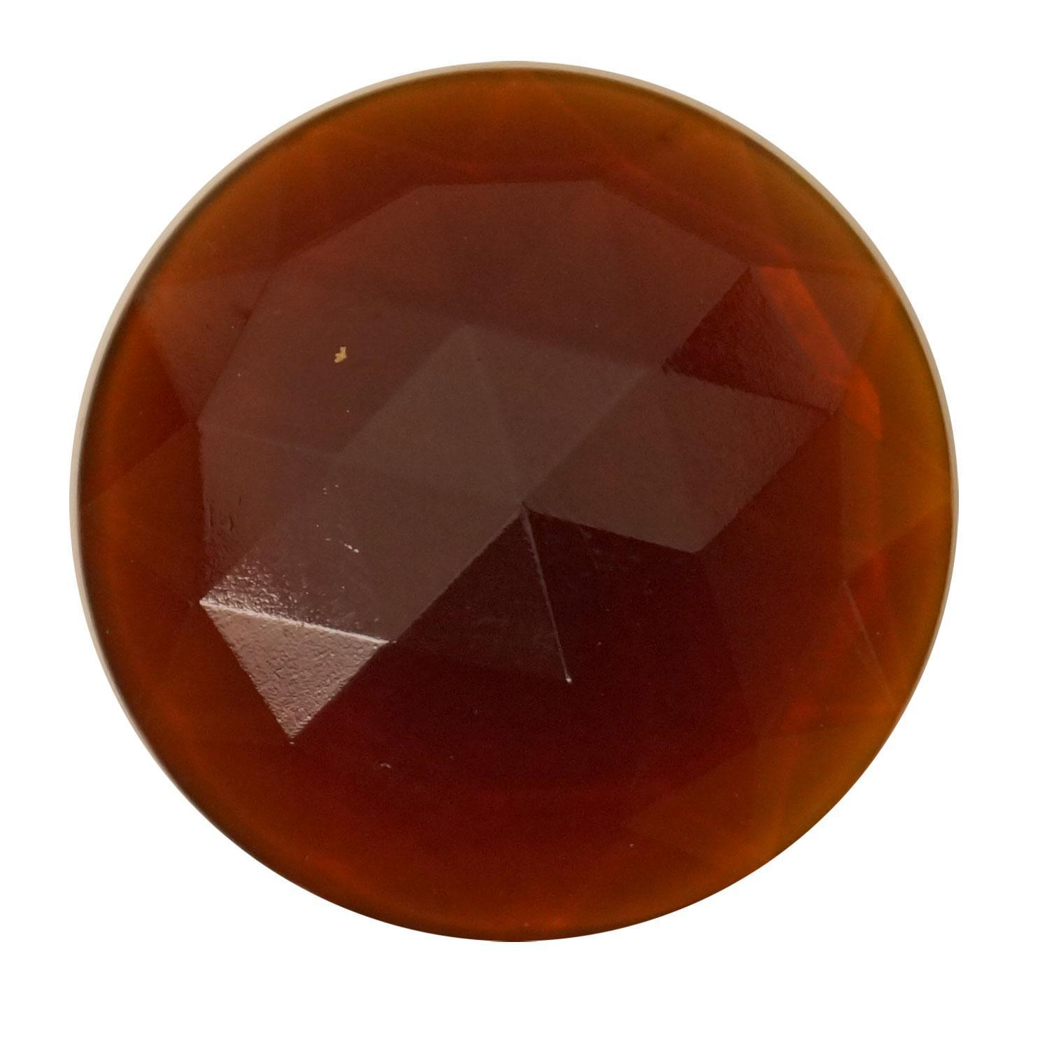 Round Amber 30mm Faceted Jewel