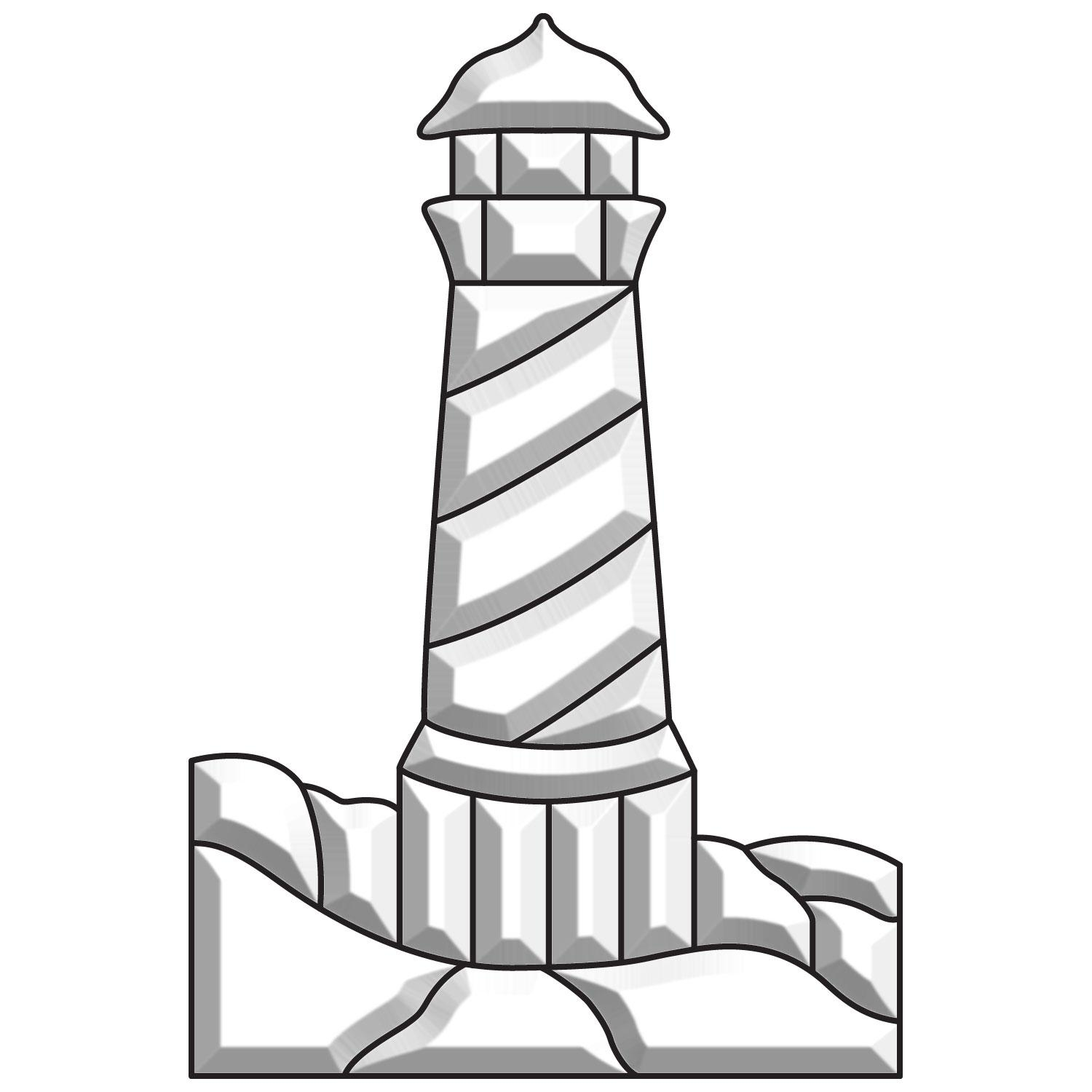Lighthouse with Rocks Bevel Cluster