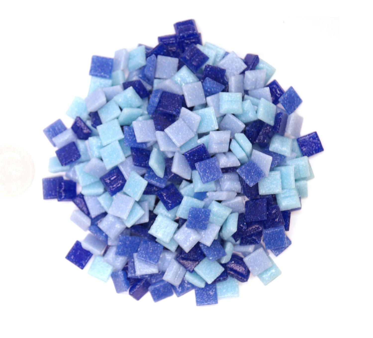 3/8 Denim Glass Tile Mix - 1/2 Lb