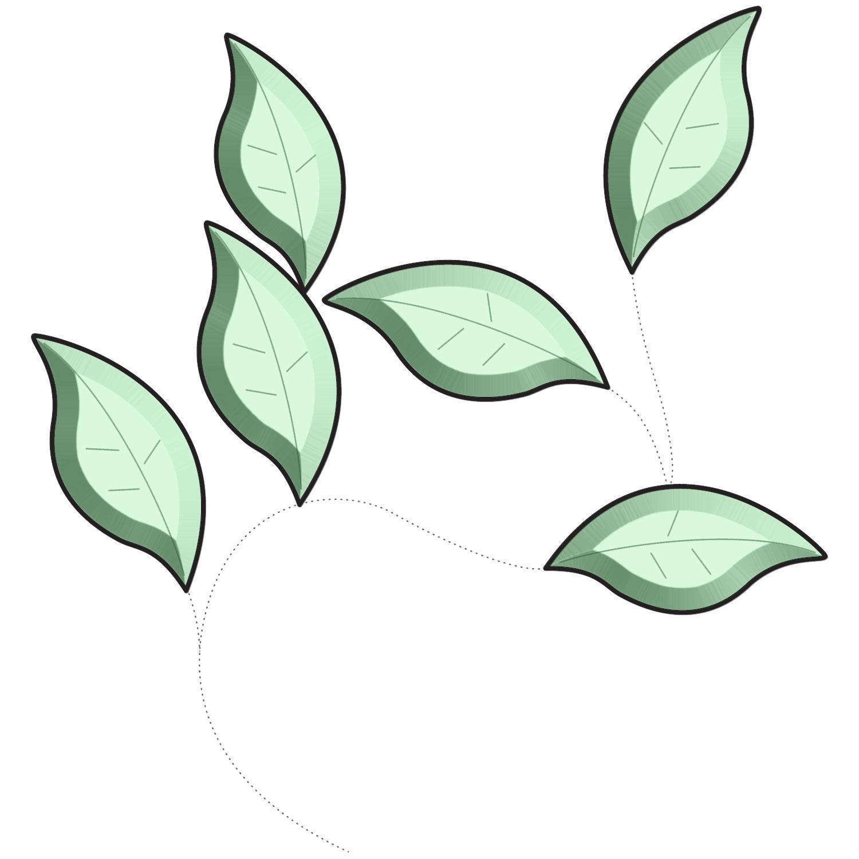 Green Garden Leaves Bevel Cluster