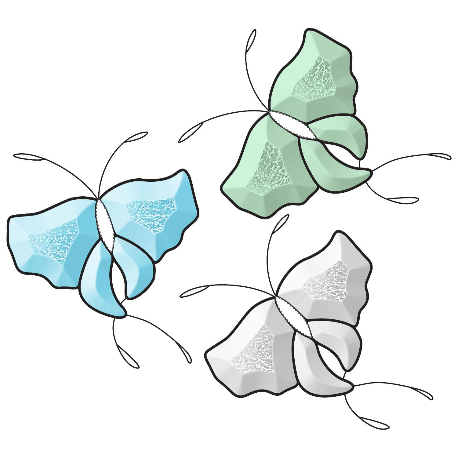 Butterfly Glue Chip Bevel Clusters - 3 Pack