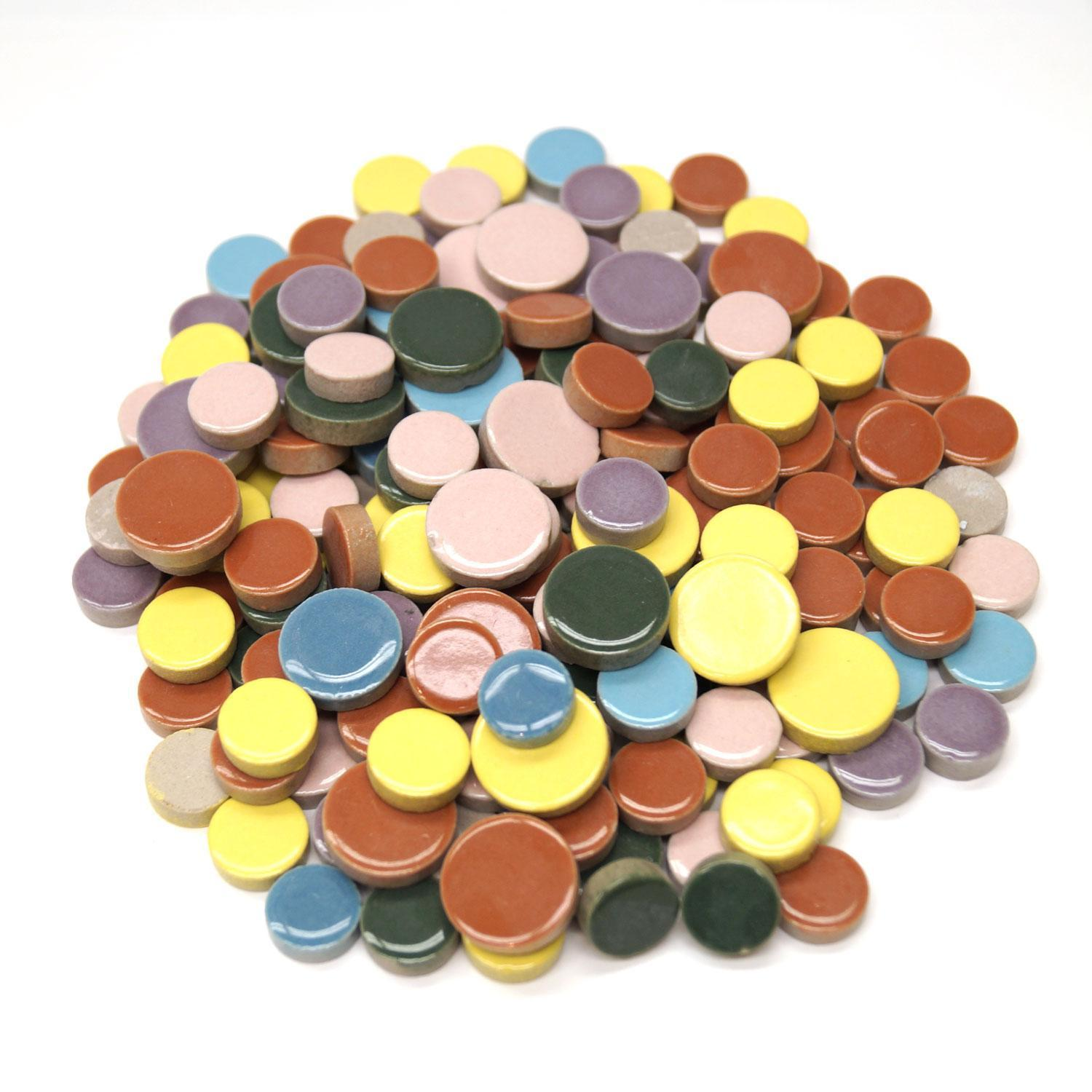 Assorted Ceramic Round Tiles - 1 Lb