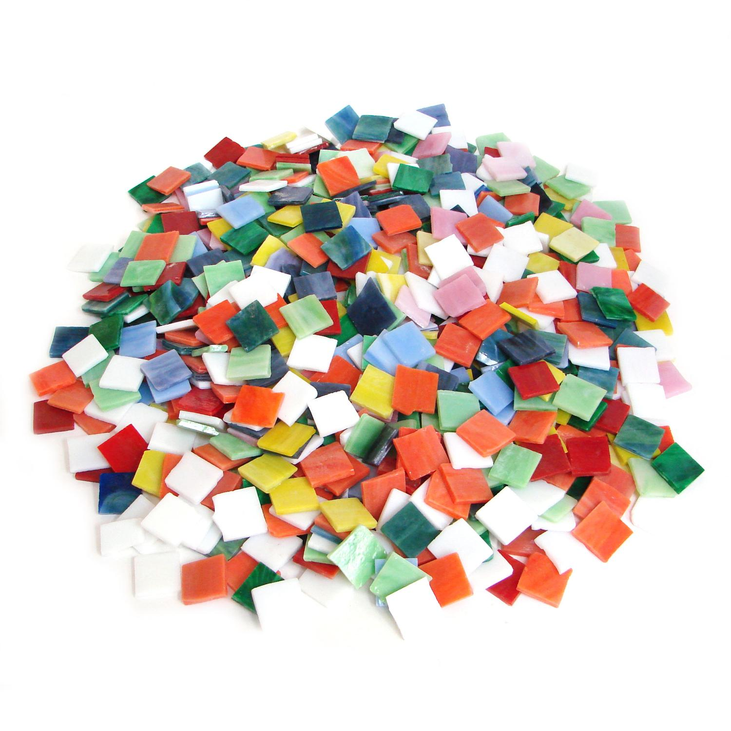 3/4 Opalescent Stained Glass Chip Assortment - 4 lb Bulk