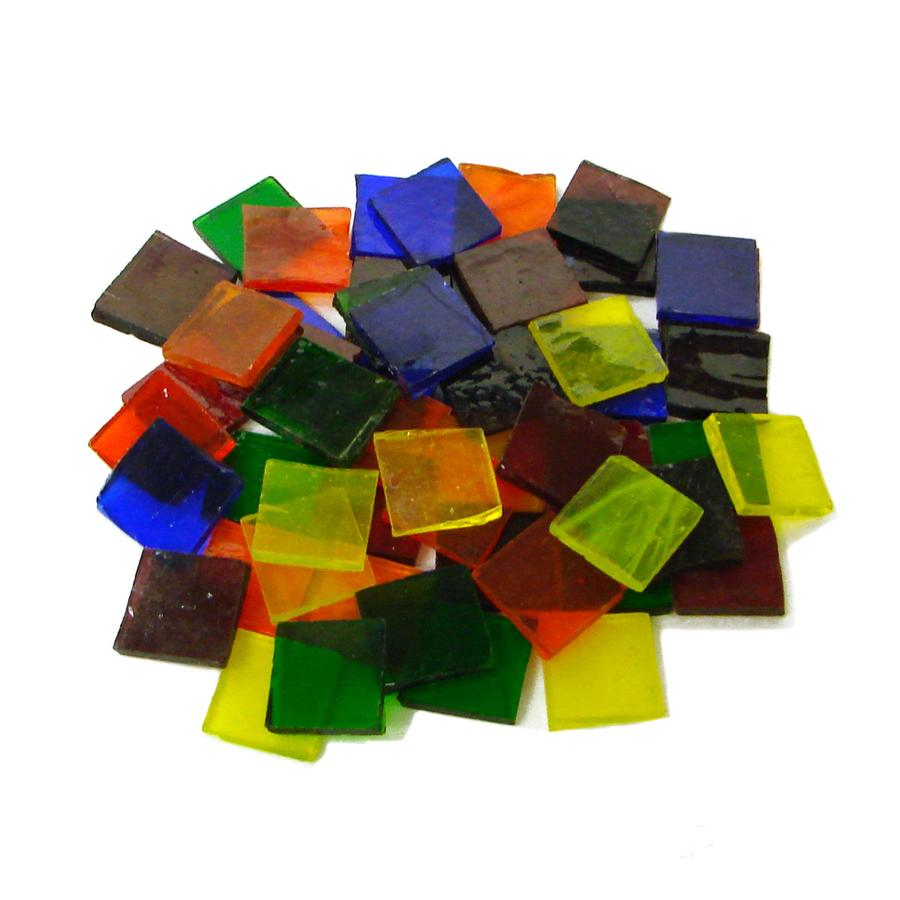 3/4 Cathedral Stained Glass Chip Assortment - 48 Pieces.