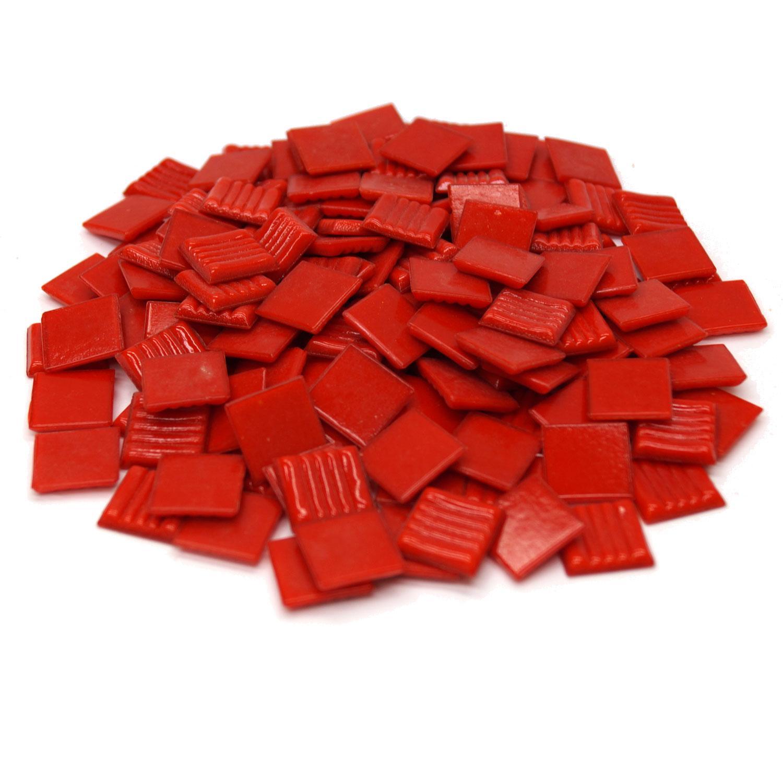 3/4 Red Glass Tile - 1 Lb