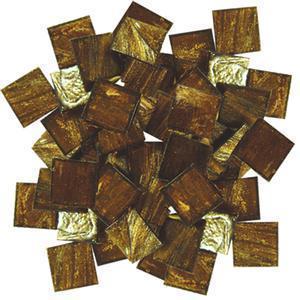 3/4 golden gold streaky glass tile - 1/2 lb.