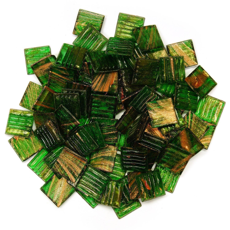 3/4 Green Gold Veined Tile - 1/2 Lb