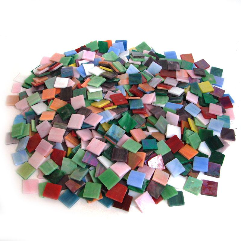 3/4 Iridized Stained Glass Chip Assortment - 4 Lb Bulk