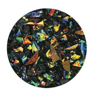 2 oz Rainbow Dichroic Coarse Frit on Black - 90 COE