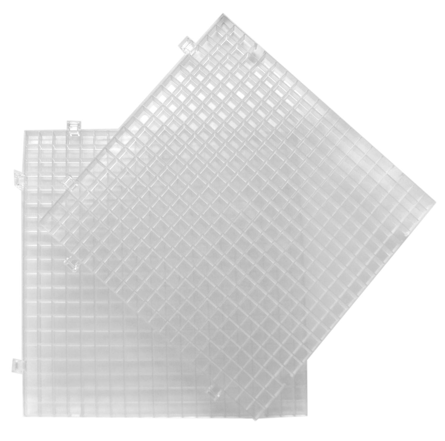 Clear Glass Panels On White Surface: Clear Waffle Grid Surface - 2 Pack