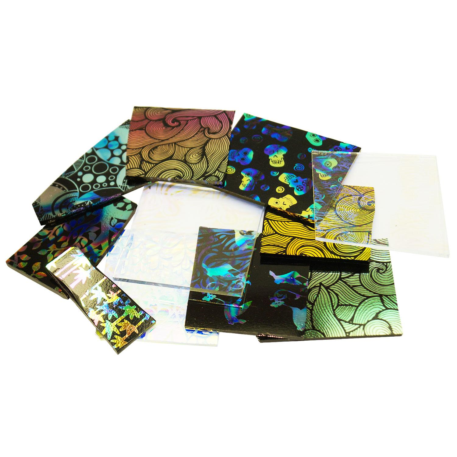 1/4 Lb Decal Pattern Dichroic Scrap Pack - 90 COE