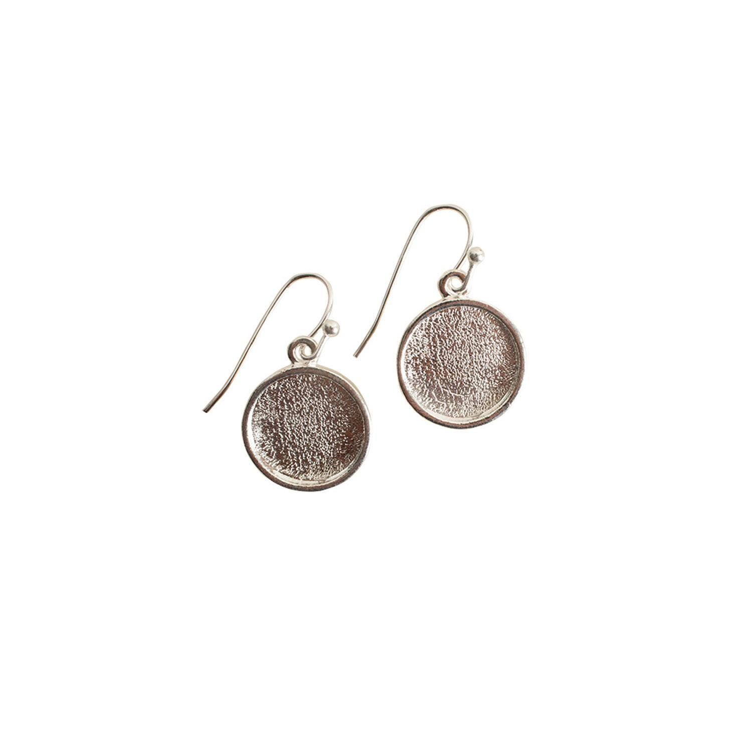 Silver Plated Round Cabochon Earrings - 4 pair