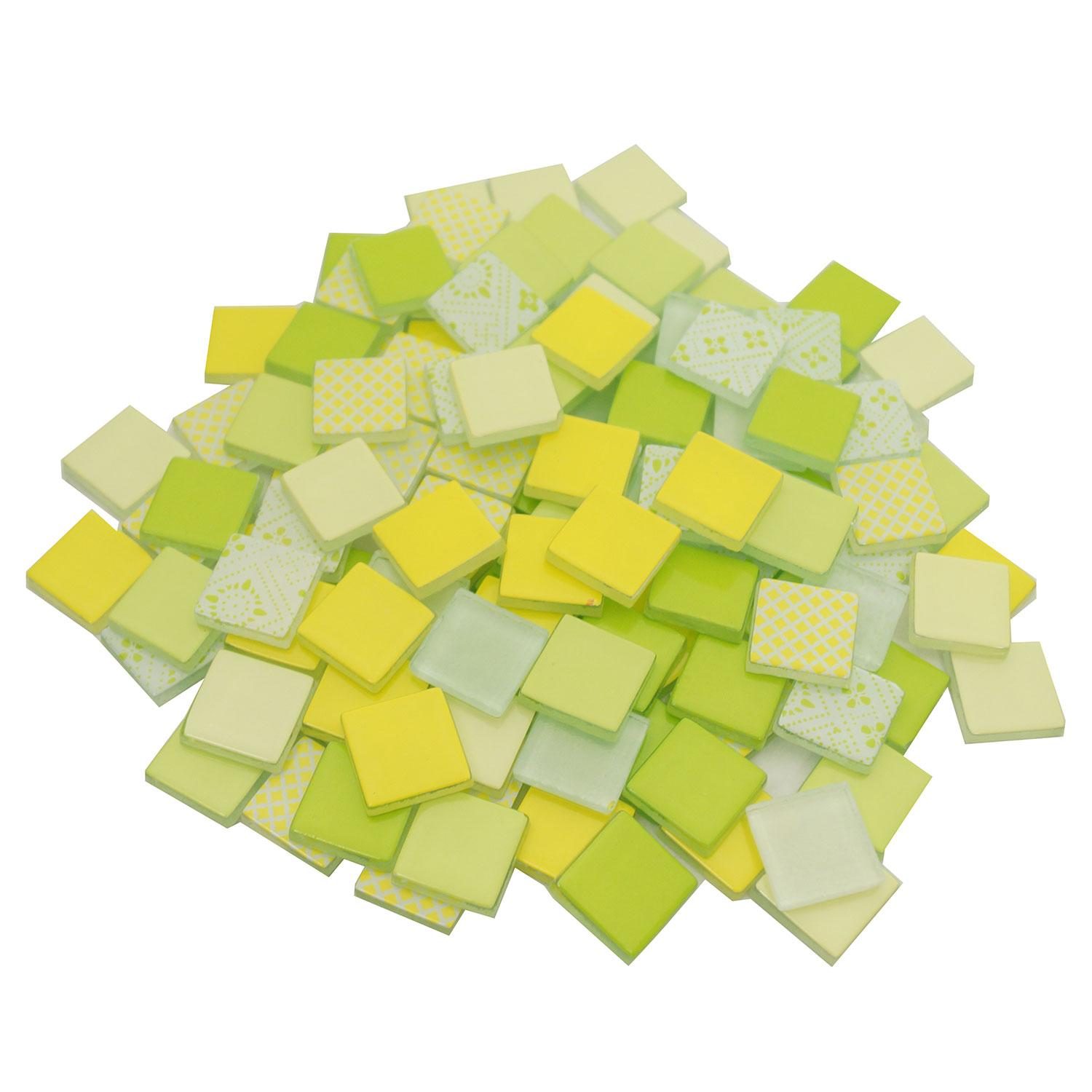 3/4 Lemon and Lime Patchwork Glass Tile Assortment - 1 lb