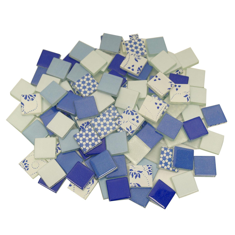 3/4 Royal Blue and Ocean Blue Glass Tile Assortment - 1 lb
