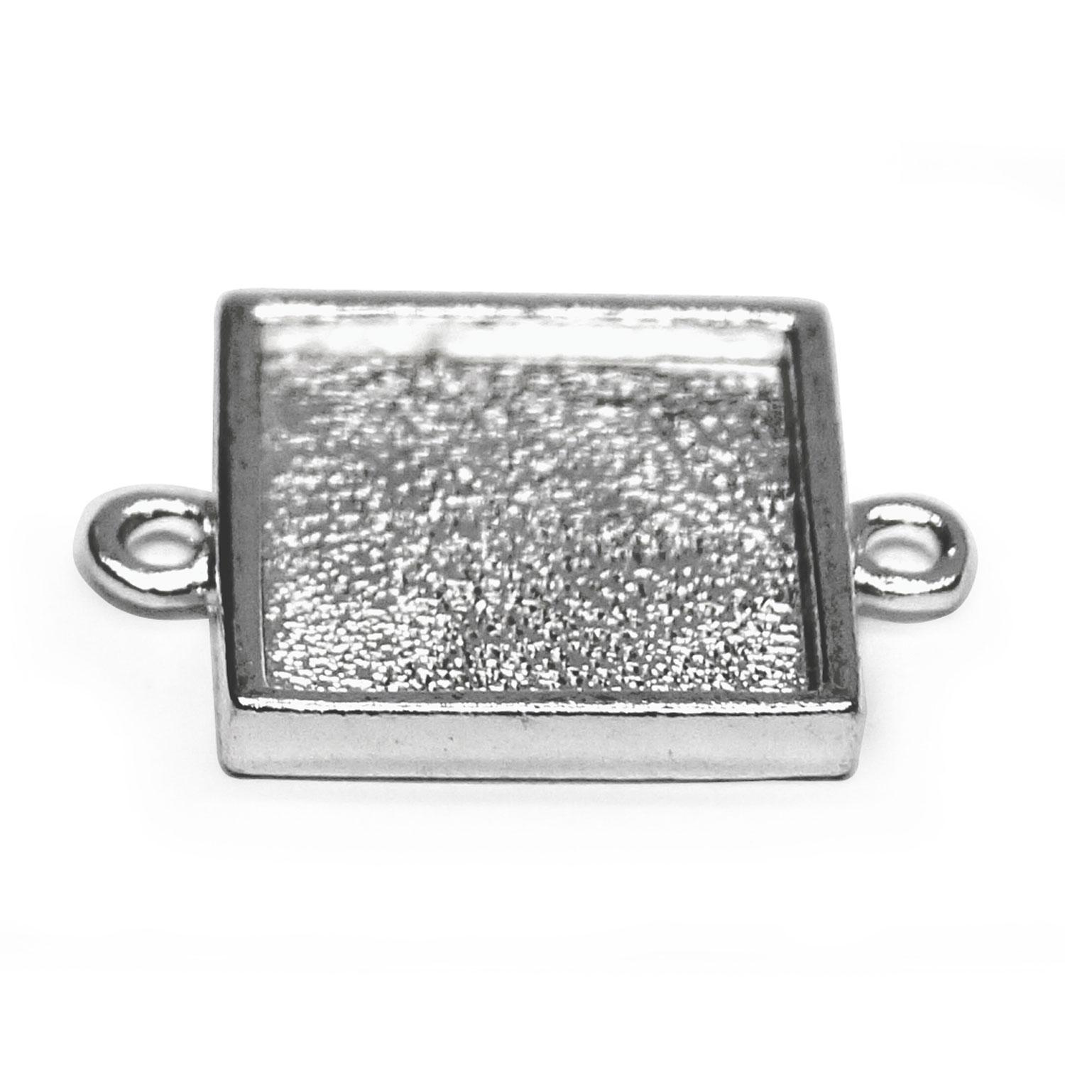 Sterling Silver Plated Square Cabochon Mini Links - 10 Pack