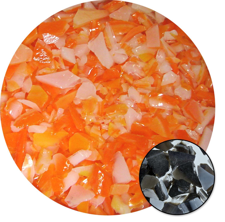 8.5 oz Orange / White Opal Dual Tone Mosaic Frit - 96 COE