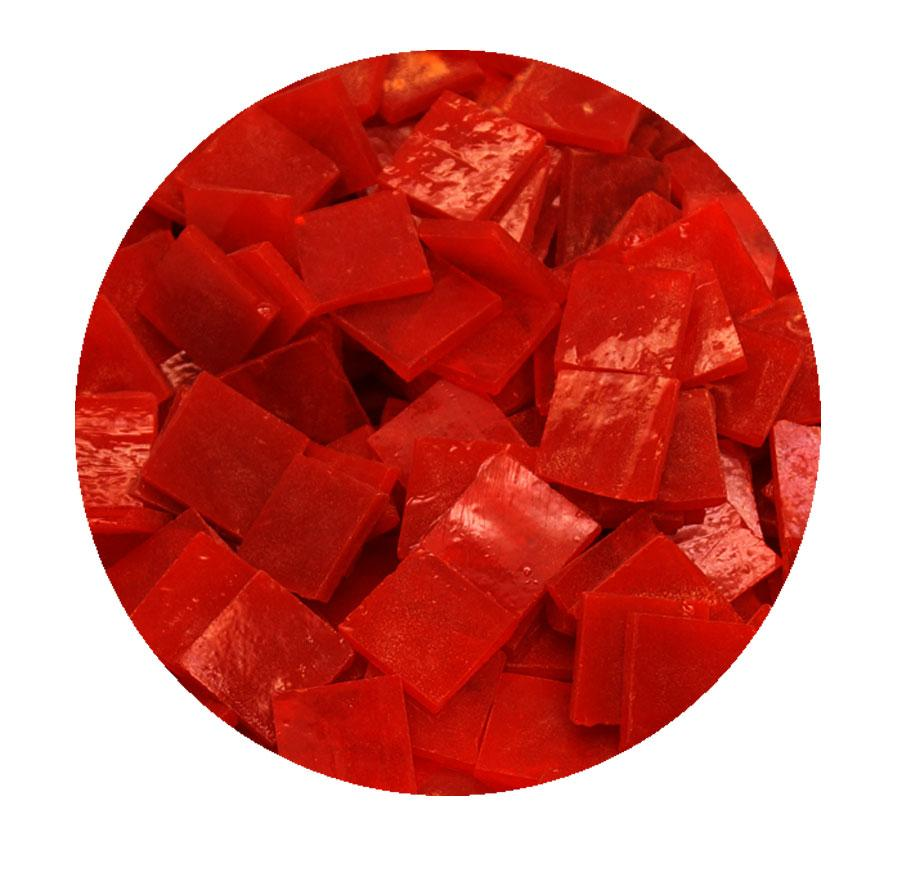 3/4 Red Transparent Stained Glass Chips - 48 Pieces