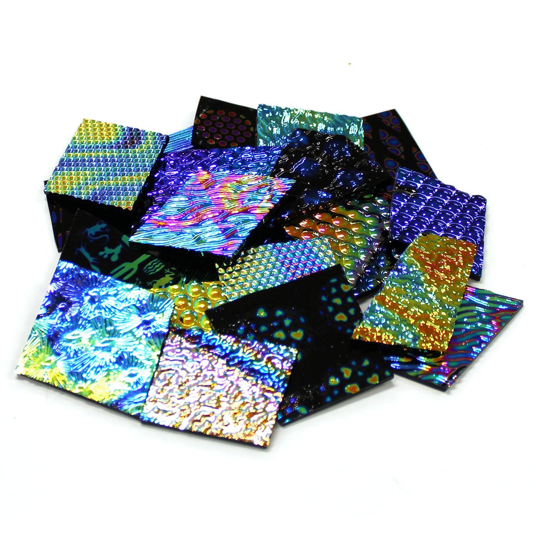 1/2 Lb CBS Experimental Dichroic Scrap on Black - 96 COE