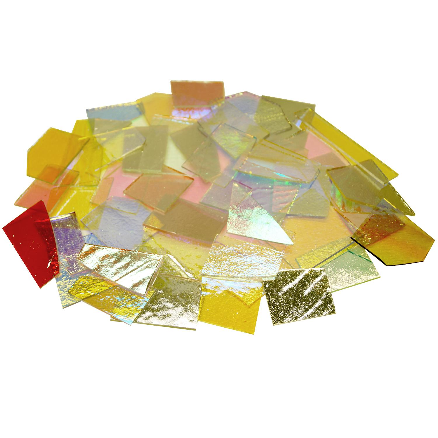 1 Lb CBS Solid Colors Dichroic Scrap On Thin Clear - 96 COE