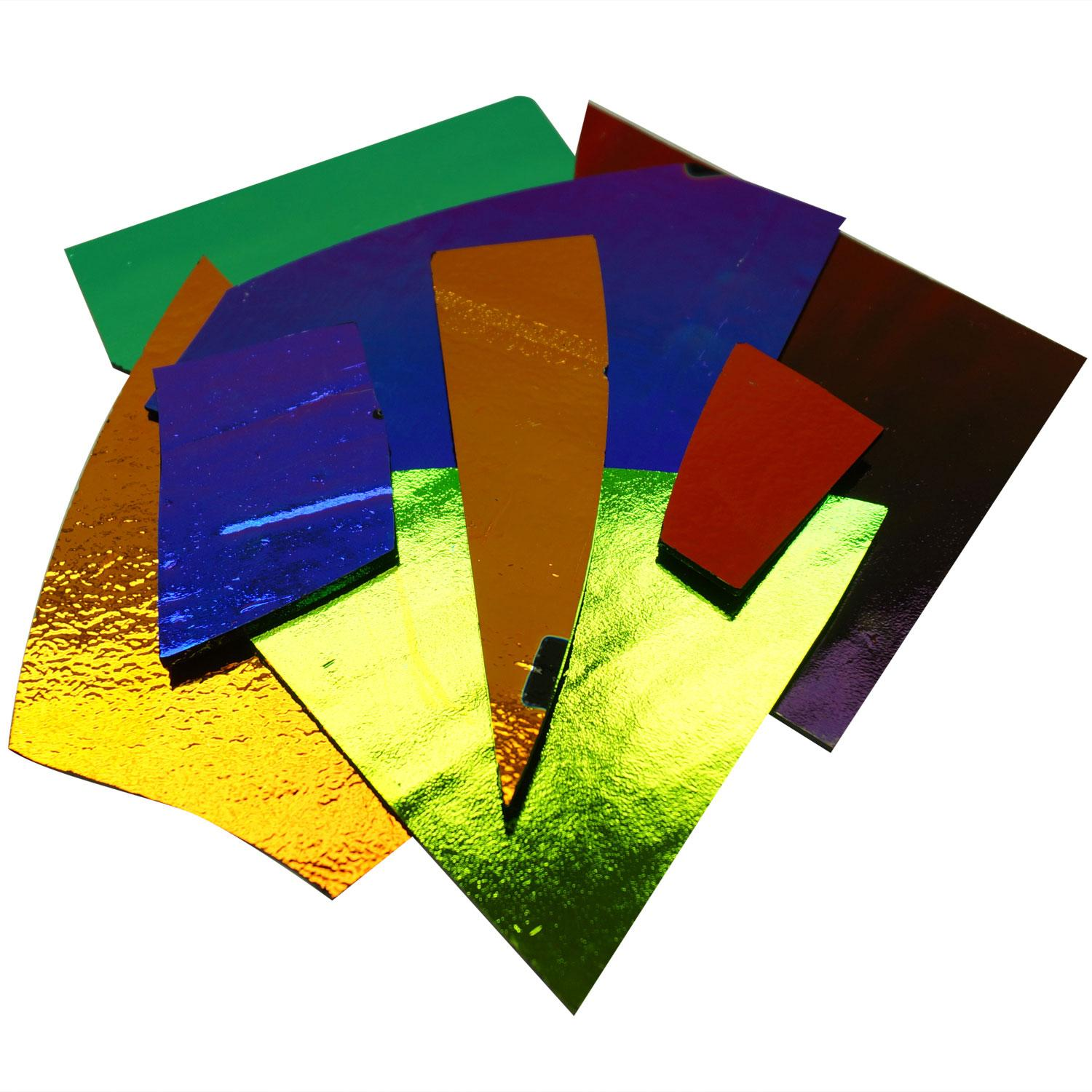 1/2 Lb CBS Solid Colors Dichroic Scrap On Thin Black - 96 COE