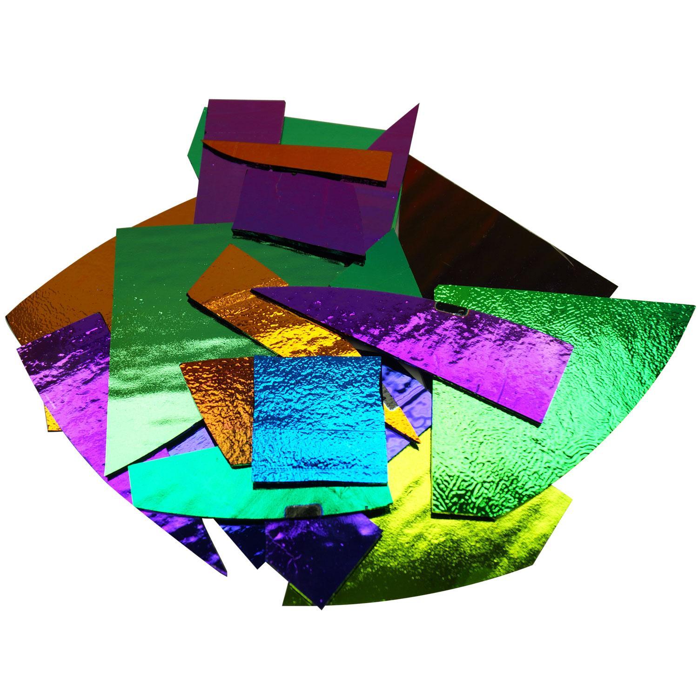 1 lb CBS Solid Colors Dichroic Scrap On Thin Black - 96 COE