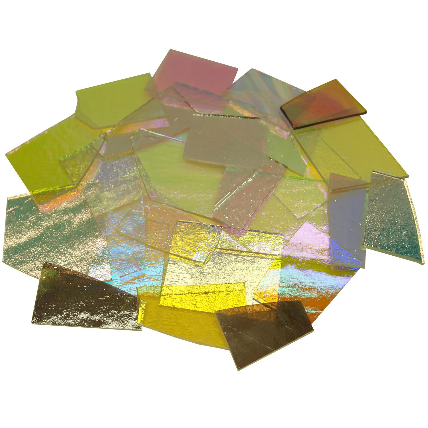 1/2 Lb CBS Solid Colors Dichroic Scrap On Thin Clear - 90 COE