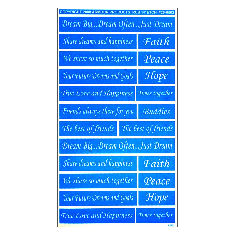 Rub N Etch Stencil - Inspirational Words