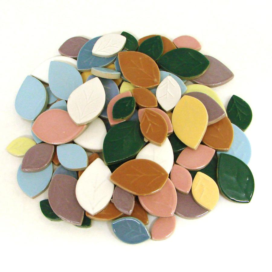 Assorted Ceramic Leaf Tiles - 1 Lb