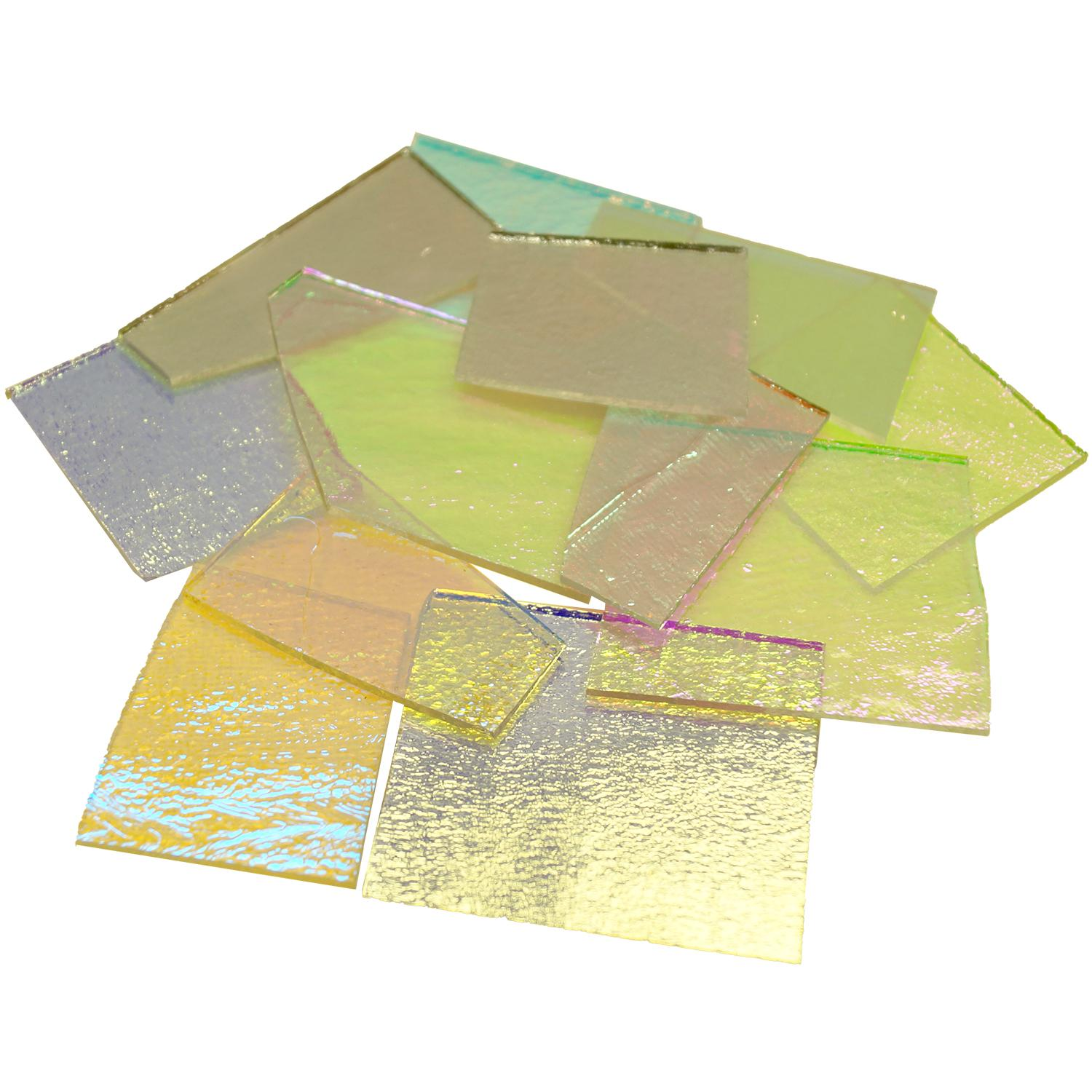 1/4 Lb CBS Solid Colors Dichroic Scrap On Thin Clear - 96 COE