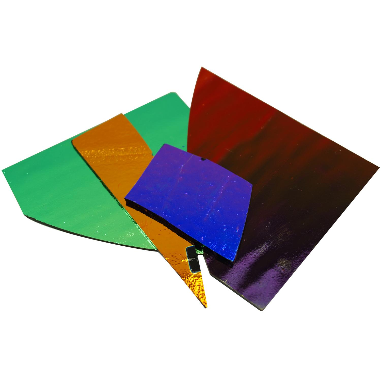 1/4 Lb CBS Solid Colors Dichroic Scrap On Thin Black - 96 COE