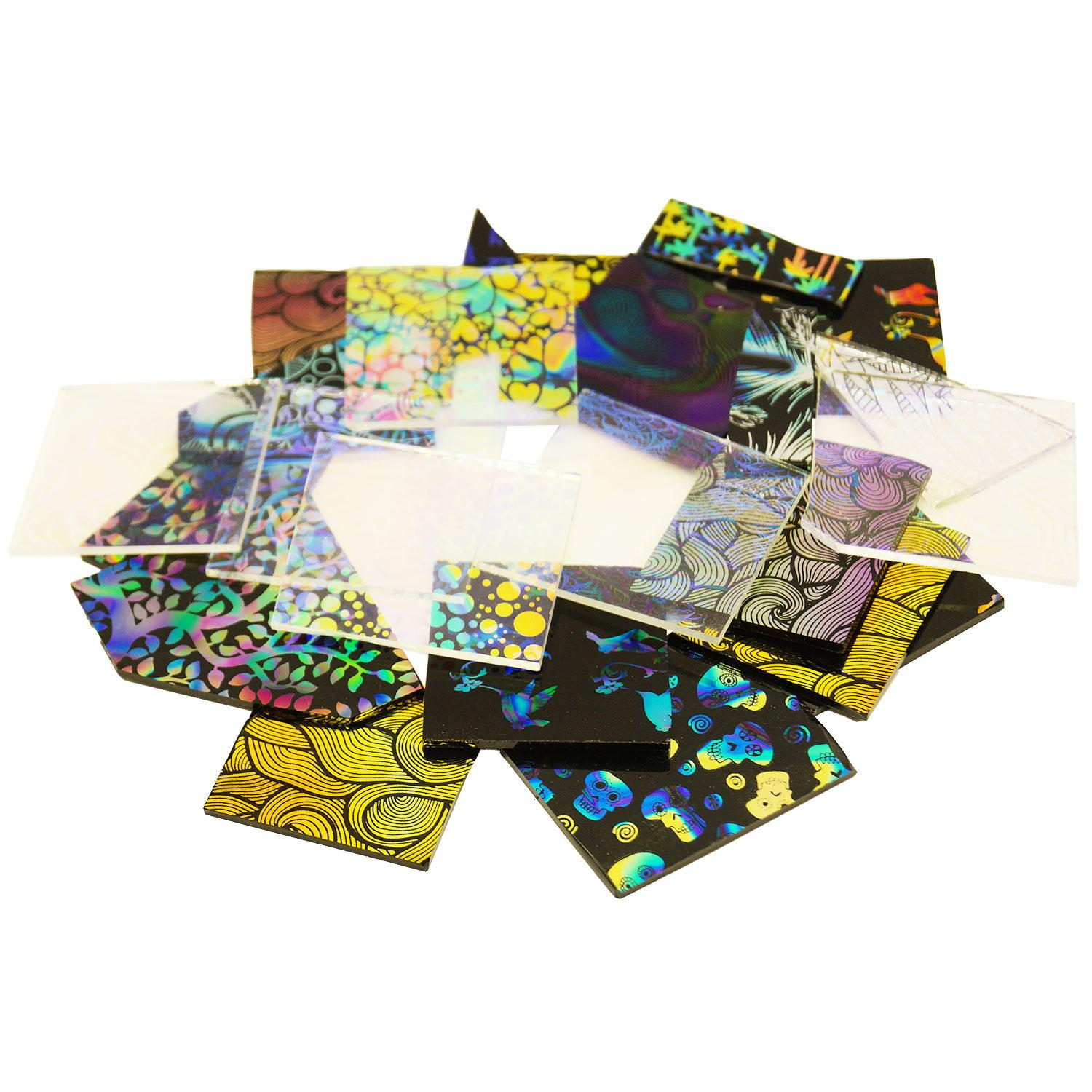 1/2 Lb Decal Pattern Dichroic Combo Scrap - 96 COE