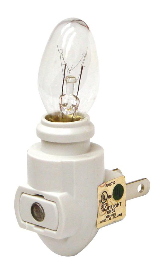 Lot of 50 Night Lights White on//off Includes 4w Bulb /& Brass Clip