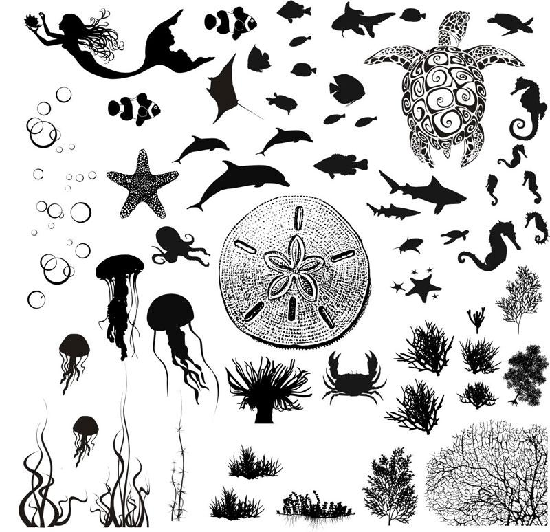 Sea Life Black Enamel Decals