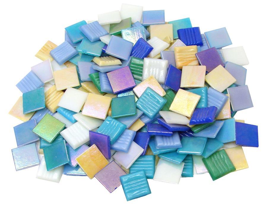 3/4 Iridized Glass Tiles Value Mix - 1 lb