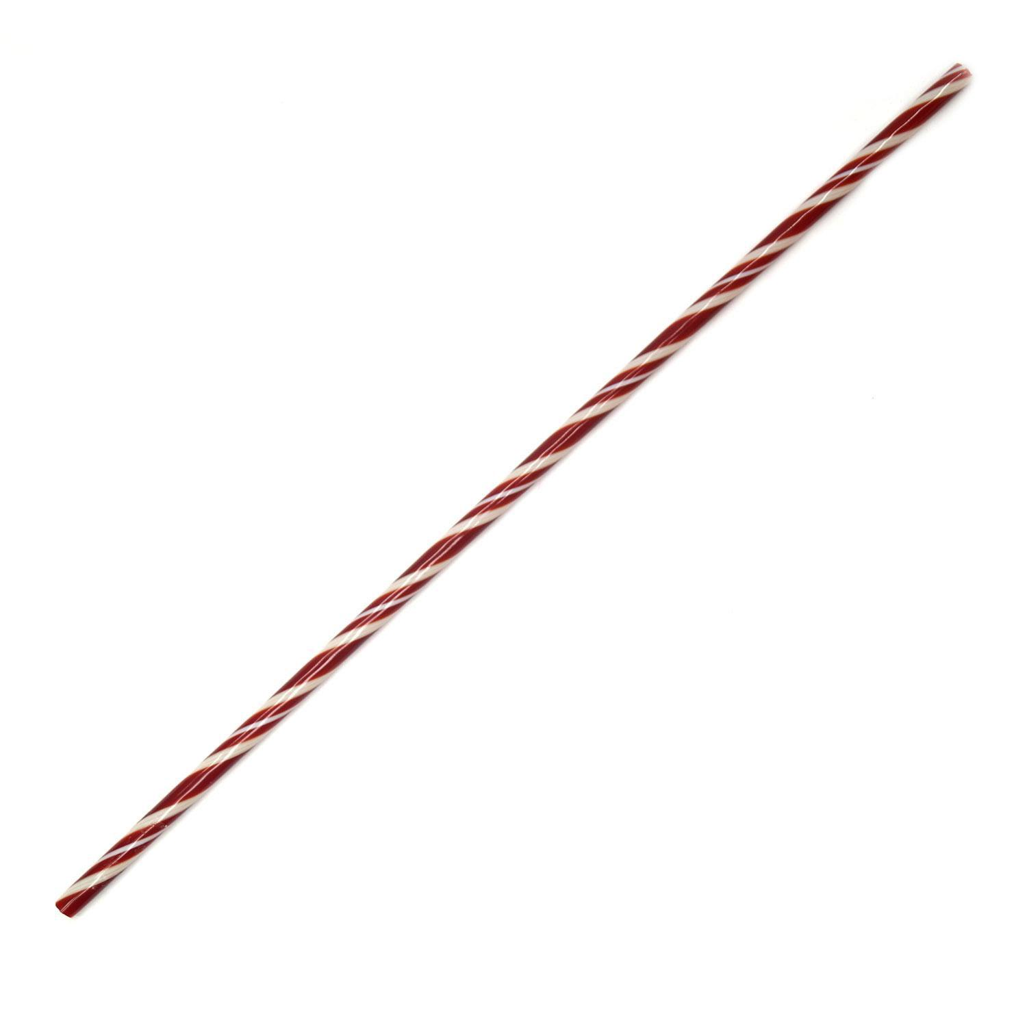 Red and White Glass Candy Cane Rod - 90 COE