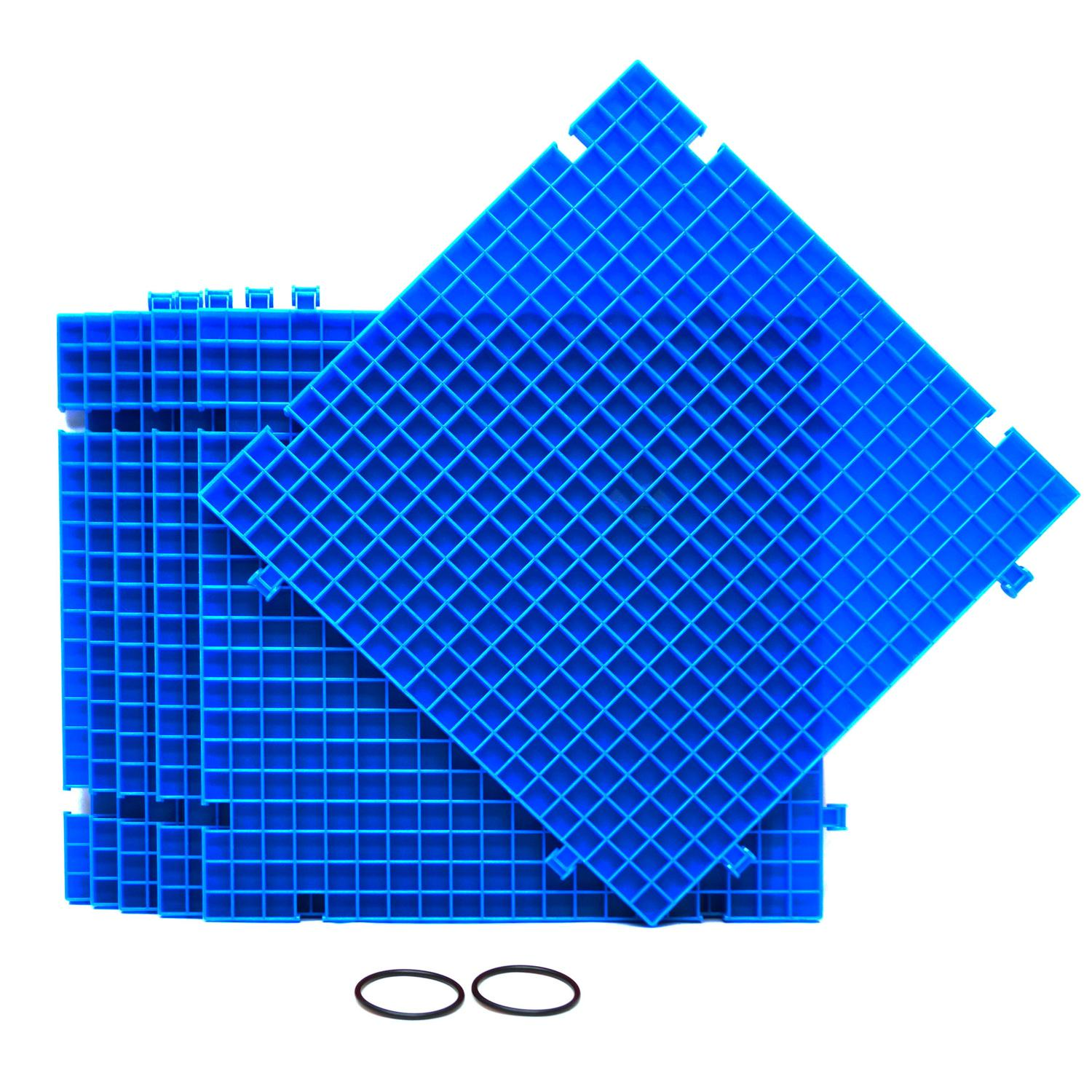Blue Waffle Grid Surface - 6 Pack