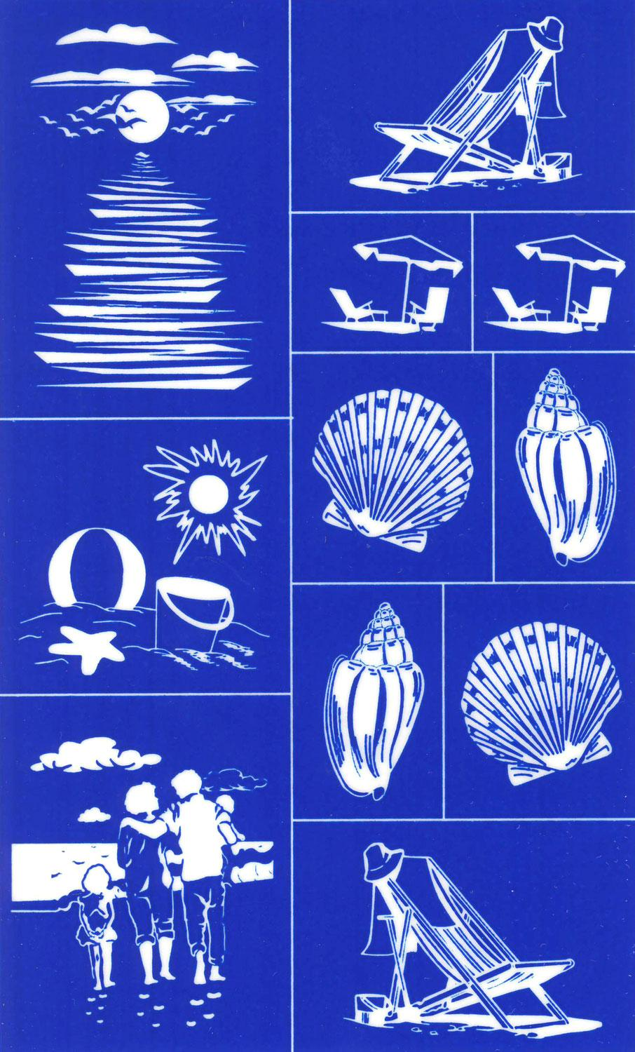 Rub n etch stencil beach designs etching engraving for Glass etching templates for free