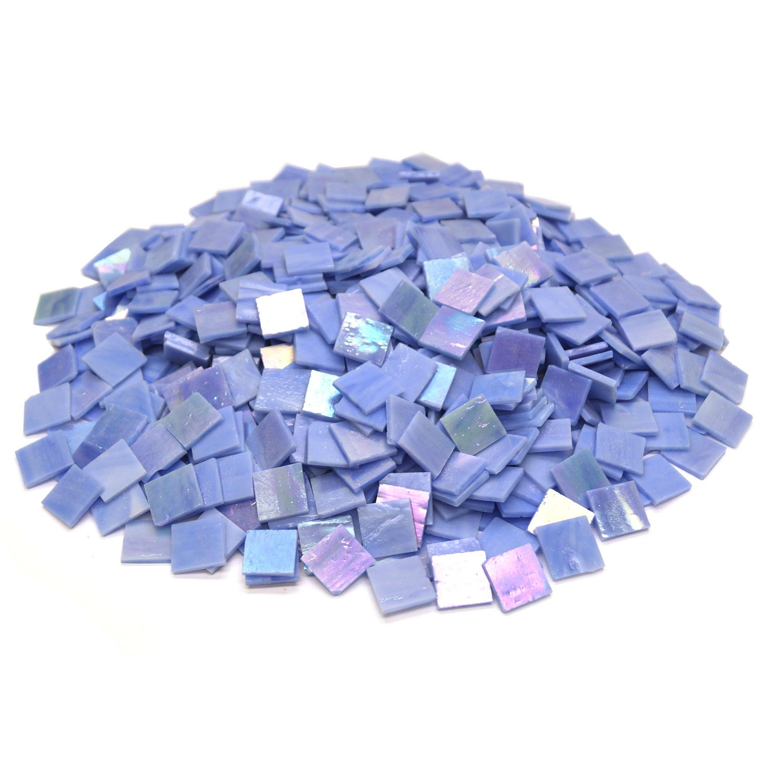 3/4 Blue Opaque Iridized Stained Glass Chips - 700 Pieces