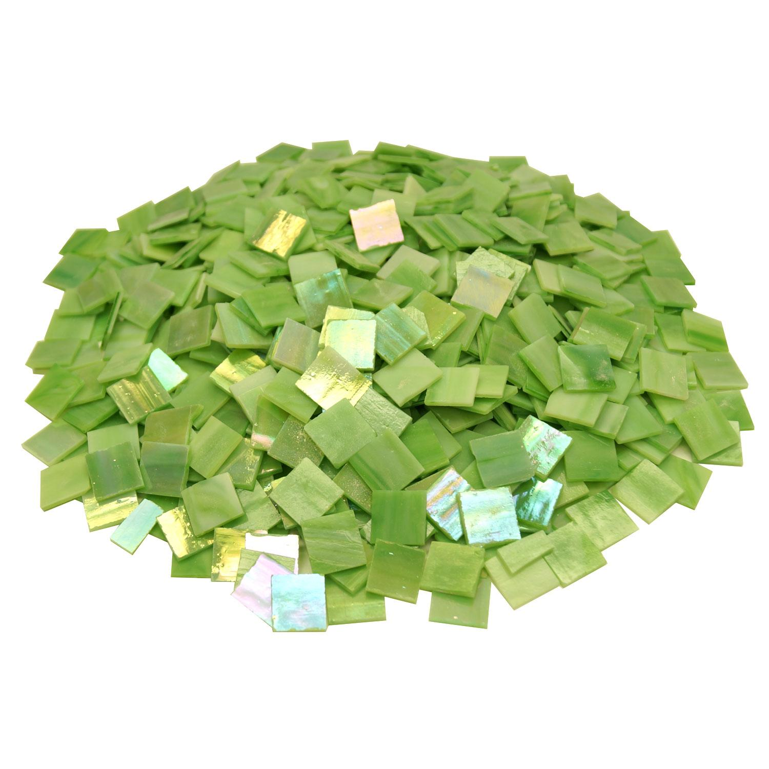 3/4 Light Green Opaque Iridized Stained Glass Chips - 700 Pieces