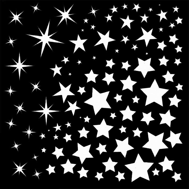 Star White Enamel Decals Black Delphi Glass