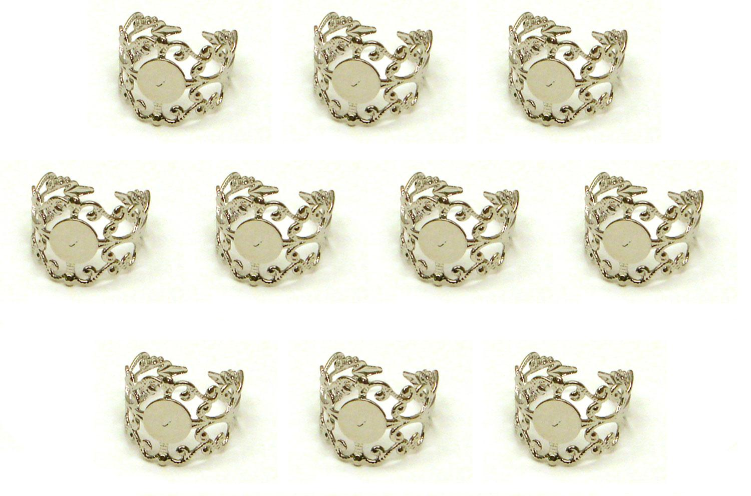 Sterling Silver Plated Adjustable Filigree Rings - 10 Pack