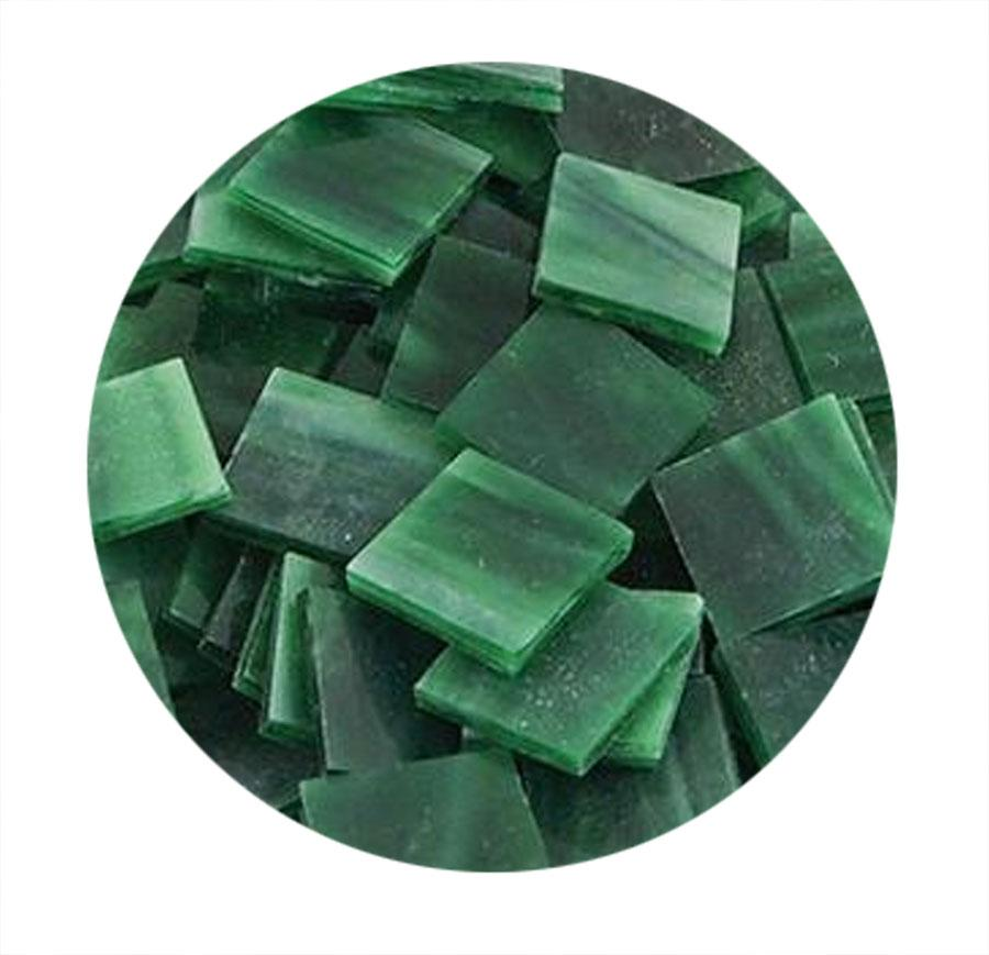 3/4 Dark Green Opaque Stained Glass Chips - 48 Pieces