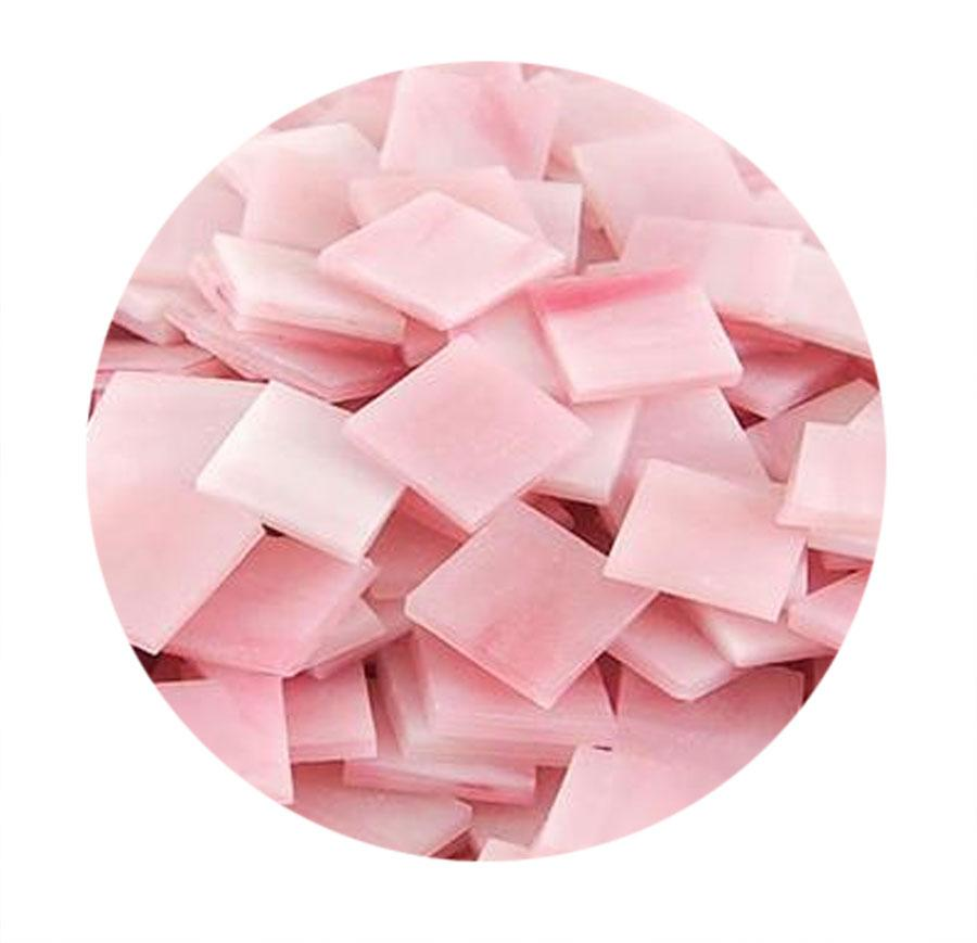 3/4 Pink Opaque Stained Glass Chips - 48 Pieces