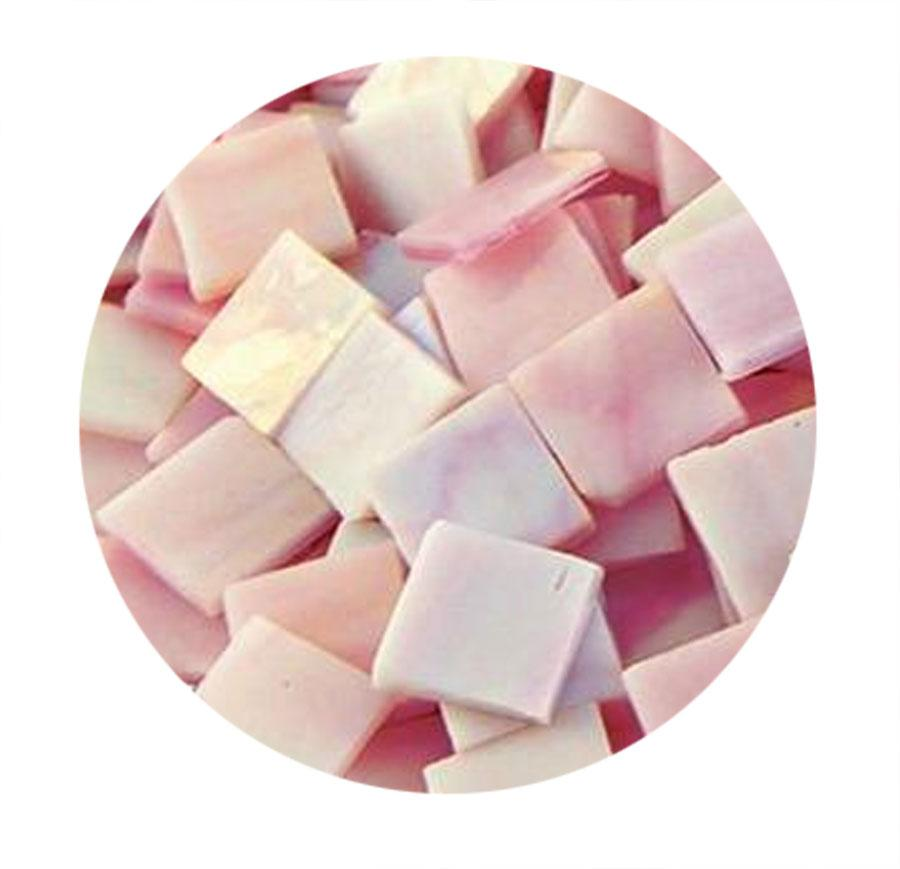 3/4 Pink Opaque Iridized Stained Glass Chips - 48 Pieces