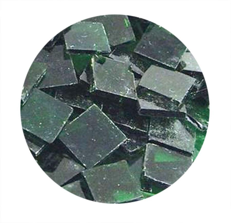3/4 Dark Green Transparent Stained Glass Chips - 48 Pieces